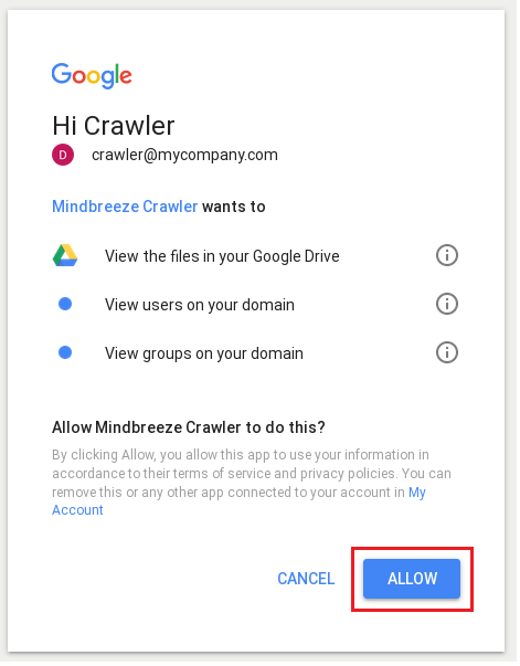 Configuration Google Drive Connector