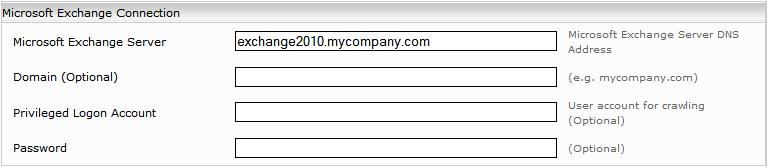 Configuration - Microsoft Exchange Connector